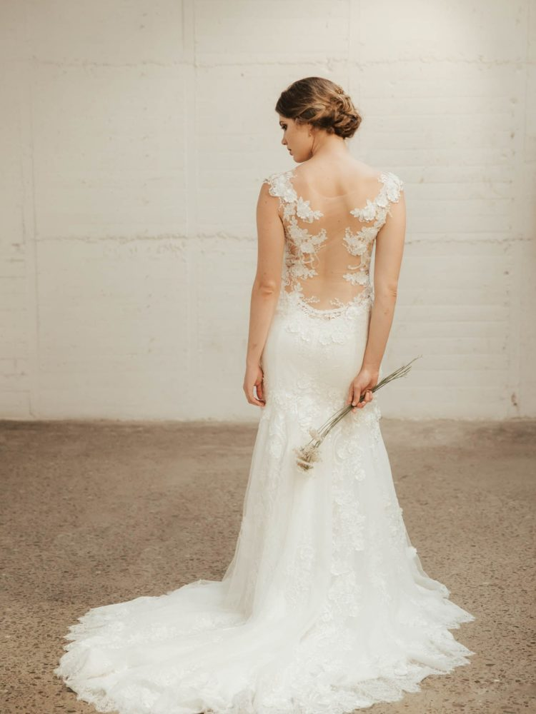 Ayana Wedding Dress. Lace wedding gown, scoop back